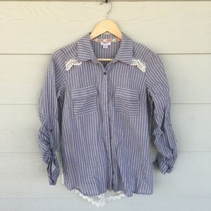 Blue Striped Chambray Shirt with Lace Back